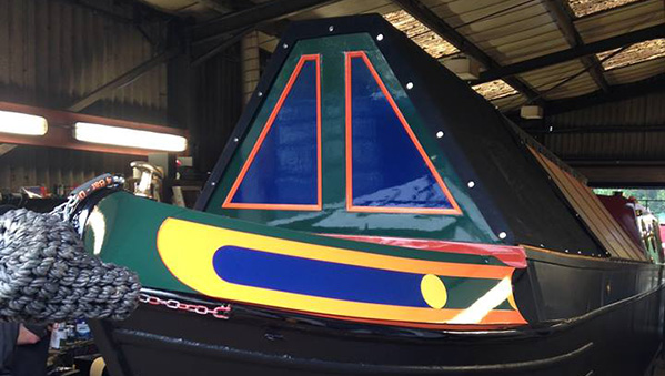 Newly built Oakcraft narrowboat 'Betty's' first paint job.